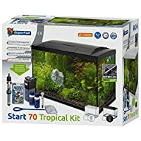 This is a modern 70L complete setup with LED lighting, internal filter, heater and a range of accessories including water conditioner, fish food, fish net and thermometer. Dimensions: 58cm x 30cm x 45cm (LxWxH) - including hood Capacity: 70 Litres Li...