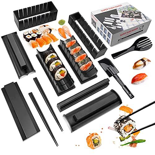 Mlryh Sushi Maker Kit 12 PCS Moules à Sushi Kit De Préparation De Sushi Set riz Rouleau Kit Sushi Sushi Maker DIY Cuisine Coffret Complet Convient à Débutant