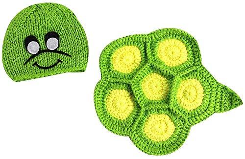 Recién Nacido bebé Unisex Tortuga del Estilo de Punto de Lana de Vestuario Trajes de Fotos Proveedor Apoyo de la fotografía (Color : Green, Size : 13 * 26 * 22cm)