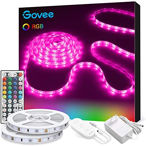 Govee Tiras LED, Luces LED RGB 10m con Control Remoto y Caja de Control, 20 Colores y 6 Modos de Escena para la Habitación, Techo, 12V, 2 rollos 5m