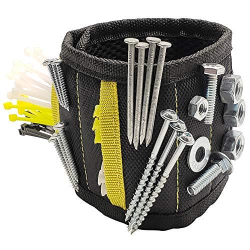 General Tools 399 Magnetisches Armband mit 10 starken Neodym-Magneten & zwei Taschen für Schrauben, Nägel, Bolzen, Bohrer, Befestigungen, Scheren oder andere kleine Werkzeuge, verstellbarer Gurt