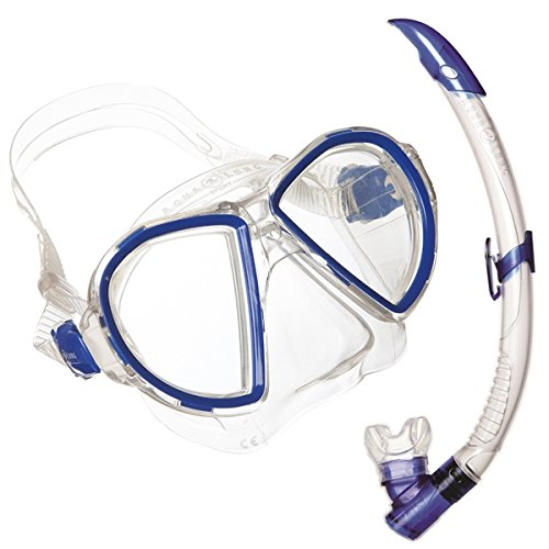 Aqua Lung Sport Duetto LX/Airflex Purge Midi - Gafas de Buceo y Tubo de Snorkel, Unisex, Duetto Midi LX/Airflex Purge Midi, Azul, Talla única