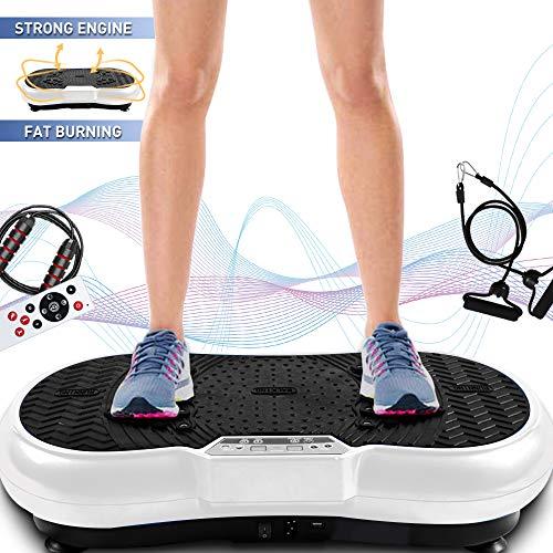Bigzzia Vibration Platform with Rope Skipping, Whole Body Workout Vibration Fitness Platform Massage Machine for Home Training and Shaping, 99 Levels (White)