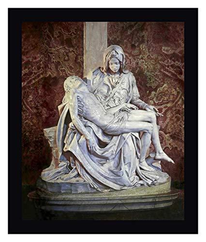 "Pieta by Michelangelo 34"" x 40"" Black Framed Canvas Giclee Art Print - Ready to Hang"