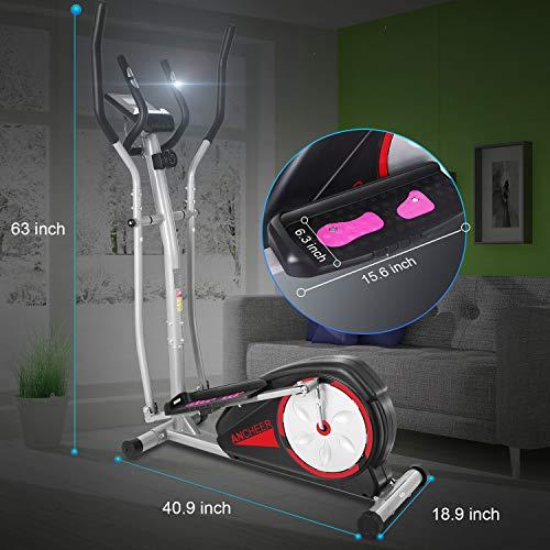 ANCHEER Elliptische Maschine, Ellipsentrainer für den Heimgebrauch mit Pulsfrequenz-Griffen und LCD-Monitor, magnetisch, glatt, leise angetrieben, maximale Kapazität Gewicht 150kg - 6