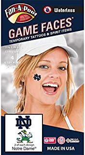 Notre Dame (ND) Fighting Irish – Waterless Peel & Stick Temporary Spirit Tattoos – 4-Piece – 2 Leprechaun Logo & 2 Navy Blue ND Logo