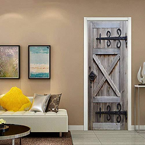 Pegatinas de puerta para puertas interiores, pegatinas de arte de pared autoadhesivas, sala de estar, dormitorio, oficina, baño, decoración del hogar, puerta de madera