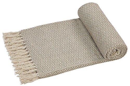 EHC handgewebter Wende-Überwurf für Sofas und Sessel, 125x 150cm, beige