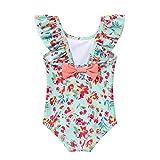 Alvivi Baby Mädchen Badebekleidung Blumen Druck/Streifen Bikini Tankini Einteiler Badeanzug Schwimmanzug Bademode A Grün 80-86