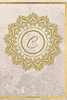 """C: 6""""x 9"""" Medium Lined Notebook Personalised with Initial Letter C   100 College Ruled Journal  Pages for Diary Writing, Taking Notes   Cute Gift for Girls & Women - Gold Design (Gold Letter Notebooks)"""