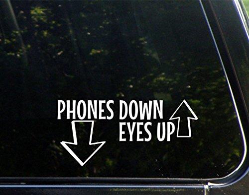 Phones Down, Eyes Up - 8' x 3-3/4' - Vinyl Die Cut Decal/Bumper Sticker for Windows, Cars, Trucks, Laptops, Etc.