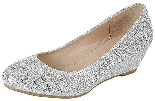 Forever Womens Low Wedge Heel Closed Toe Wedding Party Dress Sandals Shoes,Silver,10