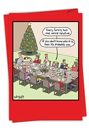Weird Relative - Hilarious Family Merry Christmas Note Card with Envelope (4.63 x 6.75 Inch) - Family Gathering, Christmas Dinner Joke Card - Xmas, Happy Holidays Cartoon Notecard Stationery 1703