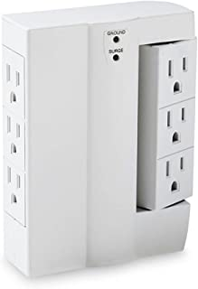 Uninex PS108 6-Outlet Swivel Side Socket Surge Protector Wall Tap, ETL Listed