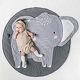 HILTOW Round Cartoon Elephant Nursery Rug Baby Floor Playmats Crawling Mat Game Blanket for Kids Children Room Decoration