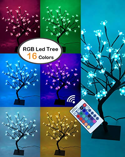 Lightshare 18 Inch Cherry Blossom Bonsai Tree, 48 LED Lights, RGB with Remote Control, 16 Color-Changing Modes, 24V UL Listed Adapter Included, Metal Base Ideal As Night Lights