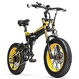 X3000plus-UP 20 pollici 4.0 Fat Tire Snow Bike, Mountain Bike pieghevole, Sospensione completa, Forcella anteriore aggiornata (Black Yellow, 14.5Ah + 1 batteria ricambi)