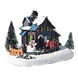 GDYJP Colorida Casa Luminosa Colorida, Decoración De Navidad Pequeño Tren De Nieve Casa De Resina Artesanía Adornos De Navidad