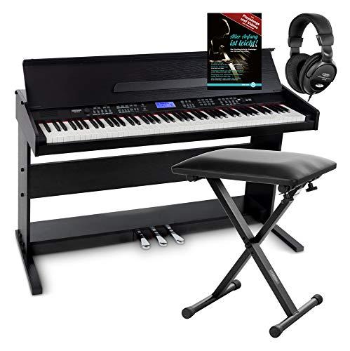 FunKey DP-88 II Digitalpiano Set (88 anschlagsdynamische Tasten, 360 Sounds, 160 Styles, MP3-Player, inkl. Keyboardbank, Kopfhörer und Klavierschule) schwarz