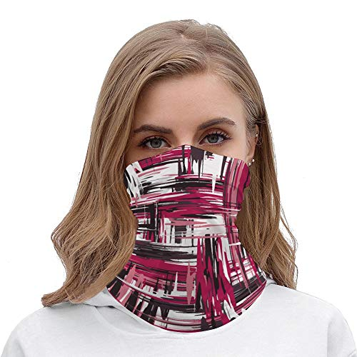 Yilooom Seamless Face Mask Bandanas, Unisex Face Scarf for Outdoor Dust Wind Sun Protection, Brush Abstract Stripe Pattern