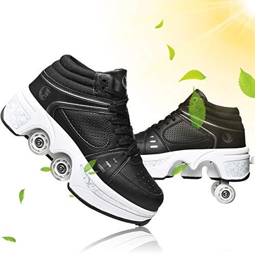 Zapatos Multiusos 2 En 1 Botas De De 4 Ruedas con Ruedas para Niños Zapatillas De Skate Zapatillas Deportivas Deportes De Exterior Patines En Línea