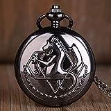 J-Love Negro Fullmetal Alchemist Reloj de Bolsillo de Cuarzo Relojes de Bolsillo Elric con Cadena de Collar Anime Boys Regalo para Hombres Mujeres
