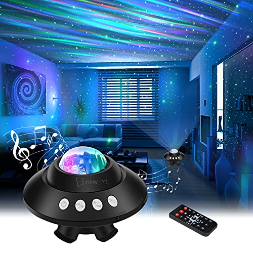 Star Projector Night Light, Dimmable Aurora Galaxy Star Light Projector with Remote Control, Bluetooth Music Speaker & Timing Function, Ceiling Starlight Projector Light for Bedroom/Baby/Kids/Adults