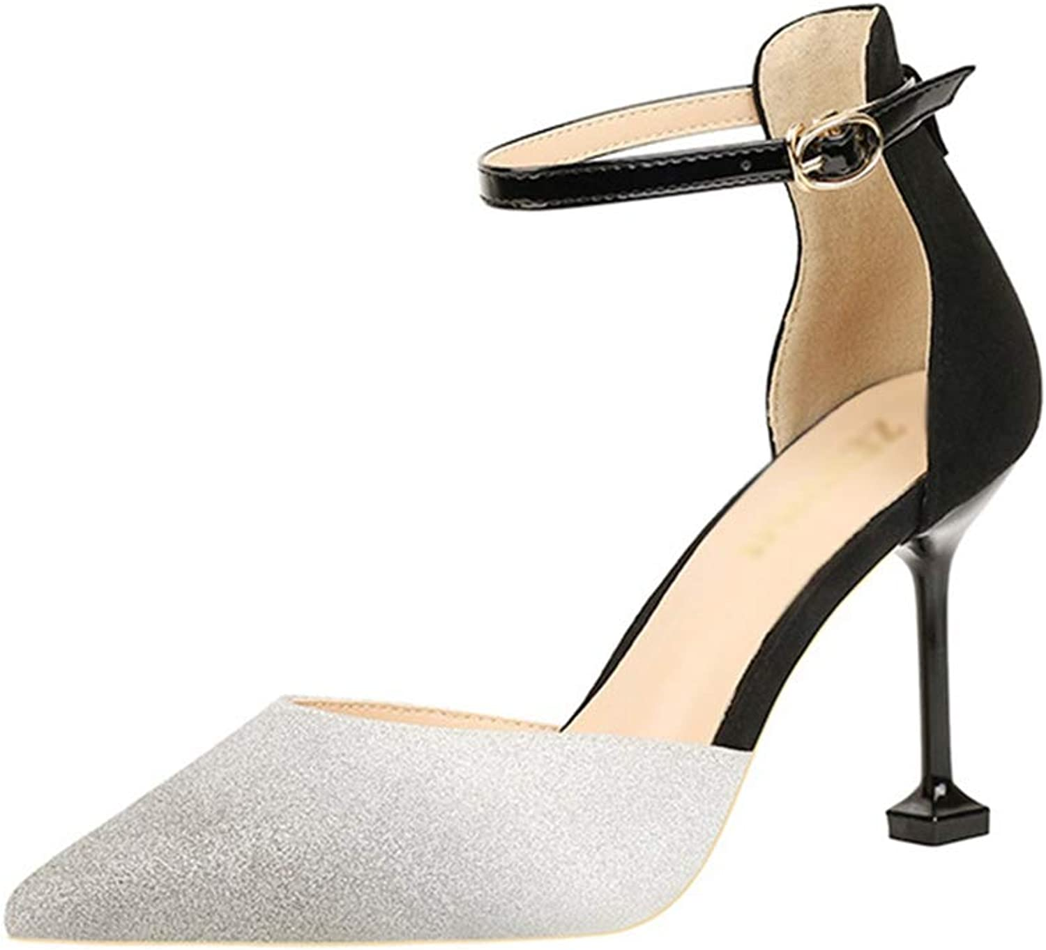 Drew Toby Women Pumps Gradient color Sexy Pointed Shallow Ankle Strap Elegant High Heels