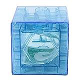 Kanzd 3D Cube Puzzle Money Maze Bank Saving Coin Collection Case Box Fun Brain Game (Blue)