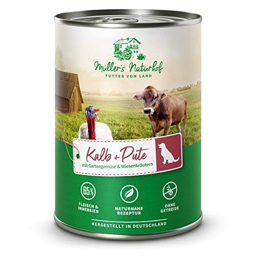 Müllers Naturhof - Kalb und Pute - 6 x 400 g - Nassfutter für alle Hunderassen - getreidefrei und glutenfrei - mit Gartengemüse und Wiesenkräutern - naturnahe Rezeptur mit 65{514f1eeb09b430c8960e40f9d60e8c40443d1d2ccceab3534508876673bb40bb} Fleisch