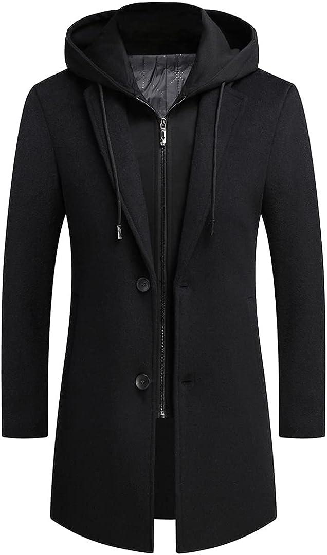Men Long Detachable Hood Woolen Coat Fashion Men Coat Jacket Manteau Homme Men Wool Jackst
