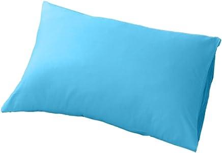 Fenteer コットン製 柔らかい シングル ピローカバー 枕カバー 純色 簡素 1ペア入り 全12色 - ブルー