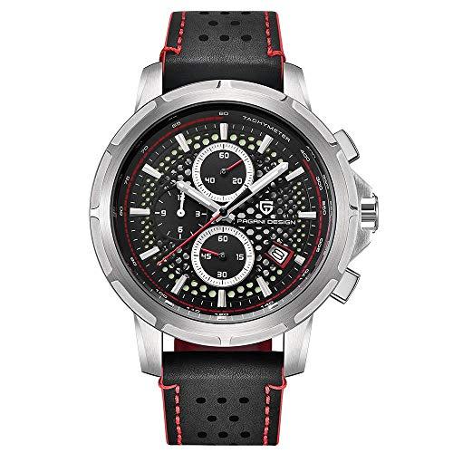 Armbanduhr,Sportmode Wasserdicht Mit Kalenderfunktionsuhr, Rote Nadel des Weißen Oberteilschwarzgesichtes
