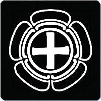 家紋 捺印マット 福島正則 中白瓜十字 11cm x 11cm KN11-3215-01W 白紋