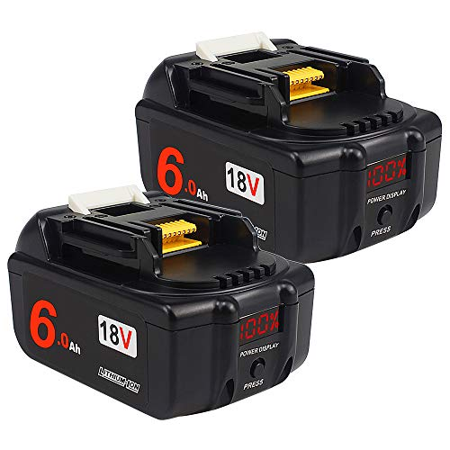 2PACK- AMICROSS 18V 6.0Ah bl1860 Li-ion Replacement Batteries(with LED Power Display) Compatible with Makita XMT03Z,XCV11Z,DMP180ZX, XSR01Z, XPK01Z, XHU02Z, XAG04Z, XRJ04Z, DCF203Z, XLC02ZB.…