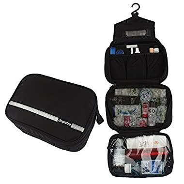 Travelling Toiletry Bag, Dopobo Portable Hanging Water-Resistant Wash Bag for Travelling, Business Trip, Camping (black)