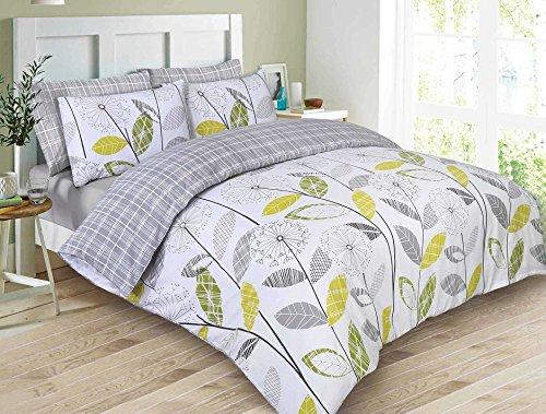 Dreamscene Luxurious Allium Duvet Set with Pillowcase, Polyester/Cotton, Grey, Super King