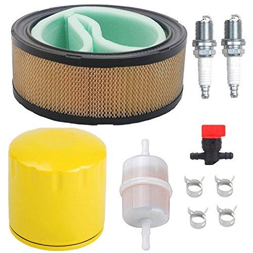 OxoxO Filtre à air, filtre à huile, bougie d'allumage et arrêt de carburant avec filtre à carburant 24 050 13-S pour Kohler CH11-CH15 CV11-CV22 M18-M20 MV16-MV20 et K582