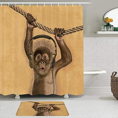 PbbrTK Stoff Duschvorhang & Matten Set,Spaß Kopfhörer AFFE Original Durable Flanell,wasserdichte Badvorhänge mit 12 Haken,utschfeste Teppiche