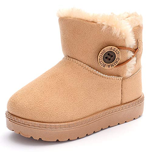 TIMATEGO Baby Kids Boys Girls Snow Boots Cozy Fur Non Slip Bailey Button Infant Toddler First Walker Outdoor Winter Shoes (Toddler/Little Kid) 7 Toddler, 004 Khaki Baby Boots…