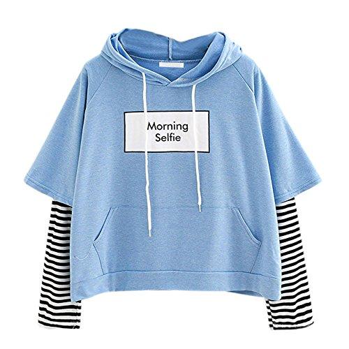 FNKDOR Sweats Court à Capuche Femmes Sweatshirt Fille Ados Impression Rayé Chemise Polo Style Deux pièces à Rayures Poche Lettre d'impression Crop Patchwork Blouse Pullover Tops(B Bleu,XL)