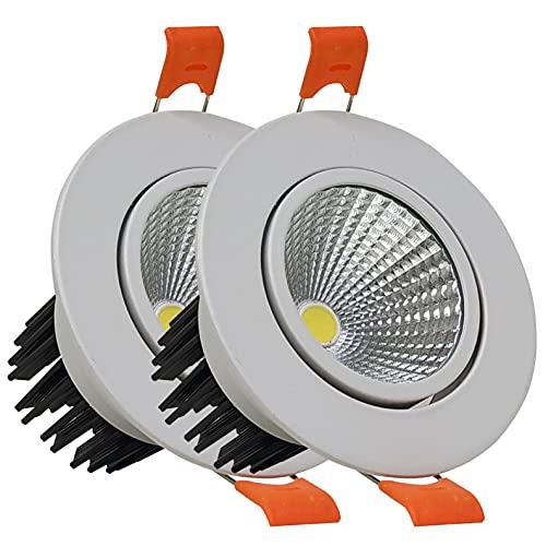 Pack 2x Downlight Orientable LED 7w. Color Blanco Neutro (4500K). Corte 65mm. Diámetro 85mm. 650 Lumenes.