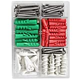 Drywall Anchor and Screw Kit,Cirlife Stainless Steel Screws,Picture Hooks for Drywall Door and Hollow-Wall, 126 Pieces