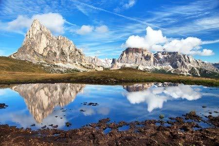 adrium Alu-Dibond-Bild 120 x 80 cm: View from Passo Giau to Mount Ra Gusela from Nuvolau Gruppe and Tofana or Le Tofane Gruppe with Clouds, Mountain mirroring in la, Bild auf Alu-Dibond