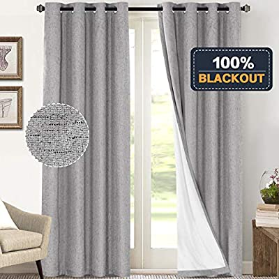 Primitive Textured Linen 100% Blackout Curtains for Bedroom/Living Room Energy Saving Window Treatment Curtain Drapes, Burlap Fabric with White Thermal Insulated Liner (52 x 108 Inch, Dove
