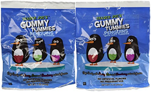 2 Pack Trader Joe's Gummy Tummies Penguins with Soft Tummies Soft Candy with Cherry ,Lime and Strawberry Natural Flavors Fat Free Made in France