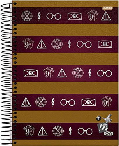 Jandaia 63599, Caderno Universitário, Capa Dura, 1 x 1, Harry Potter, 96 Folhas, Multicor, Pacote de 04