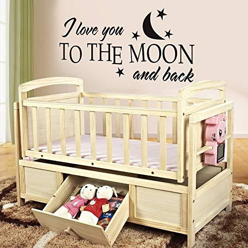 Sticker mural humoristique en vinyle avec citation « I love you to the moon and back » pour chambre d'enfant