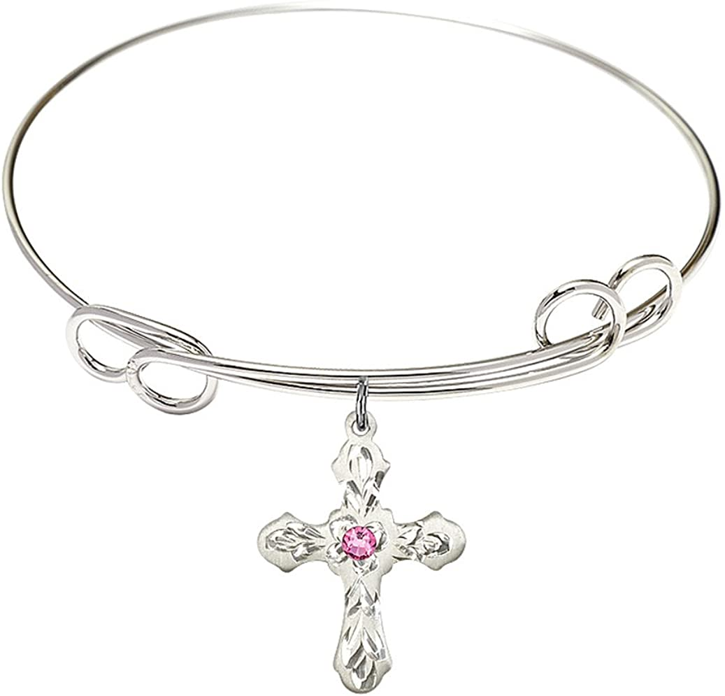 7 1 2 inch Round Double Loop Super beauty product restock quality top medal Cross w char Bracelet Bangle Max 68% OFF