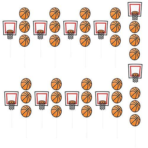 inherited 40 Stück Cartoon Basketball Muster Kuchen Topper Basketball Thema Kuchendeckel Topper für Kinder Baby Party Geburtstag Party Kuchen Dekoration Supplies (30x Basketball + 10x Basketballkorb)